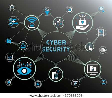 cyber security concept background, internet security, data security icons