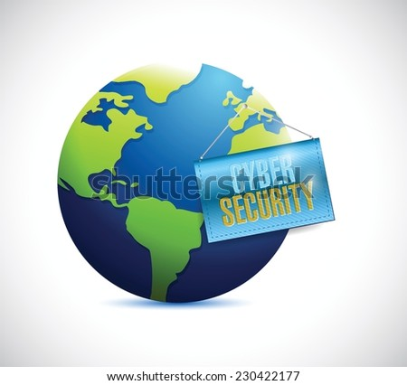 cyber security globe and banner illustration design over a white background