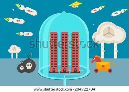 Cyber security, hacker activity, cloud data protection - isolated flat vector illustration. - stock vector