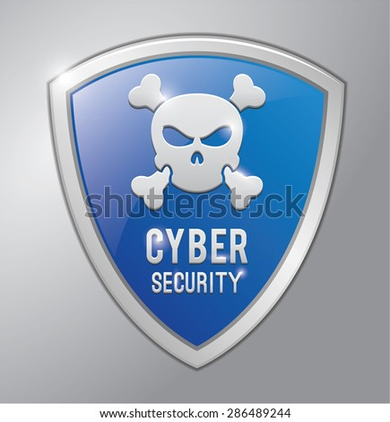 Cyber security shield - stock vector