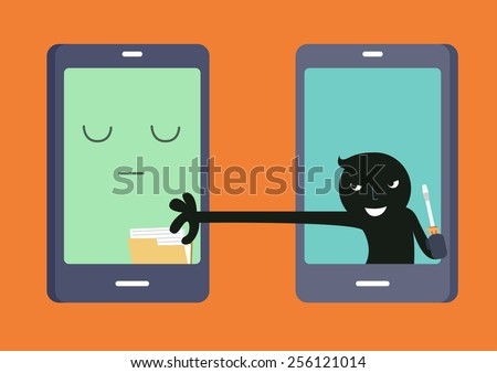 Cyber thief - Illustration - stock vector