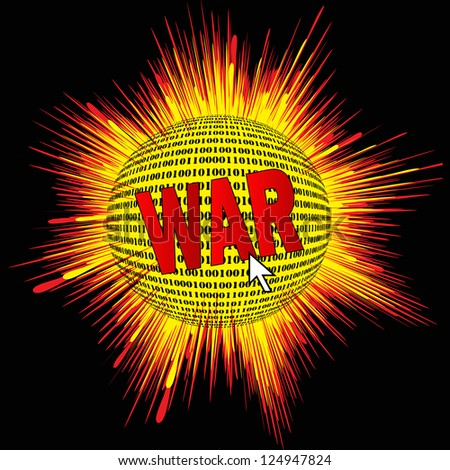 Cyber war destroying nation's computers or networks - stock vector