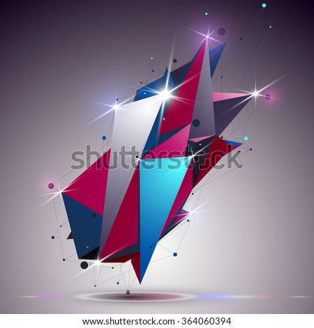 Cybernetic dimensional apex technology object with lines mesh. 3d colorful shiny complicated structure, can be used in web and graphic design. - stock vector