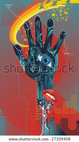 cybernetic hand with eye and mouth ,vector illustration - stock vector