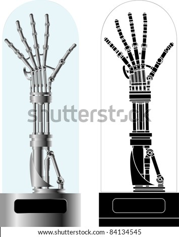 cybernetic hand with stencil. vector illustration - stock vector