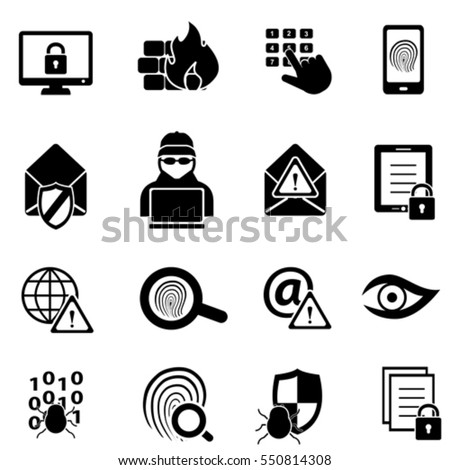 Cybersecurity, virus, malware and computer security icons