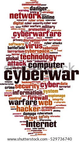 Cyberwar word cloud concept. Vector illustration