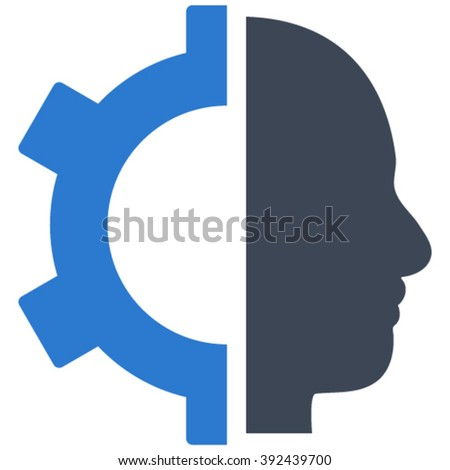 Cyborg Gear vector icon. Image style is bicolor flat cyborg gear pictogram drawn with smooth blue colors on a white background.