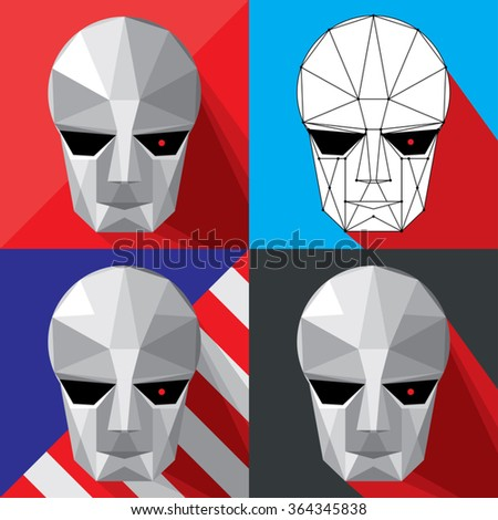 cyborg head or face mask on a colorful background in a square frame. vector illustration - stock vector