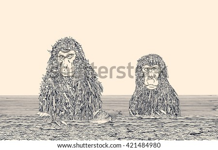 Cyborg Monkey Meditation.Two Monkeys in the Water covered by mechanical cyborg fur.