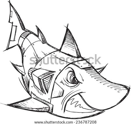 Cyborg Robot Shark Sketch Vector Illustration Art - stock vector