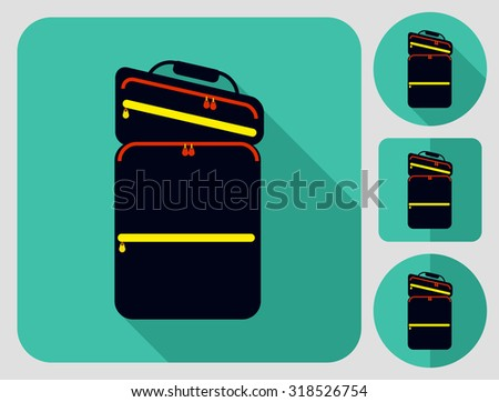 Cycle bag icon. Bike accessories. Flat long shadow design. Bicycle icons series. - stock vector