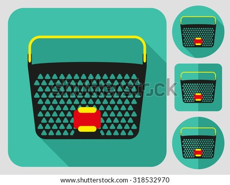 Cycle basket icon. Bike accessories. Flat long shadow design. Bicycle icons series. - stock vector