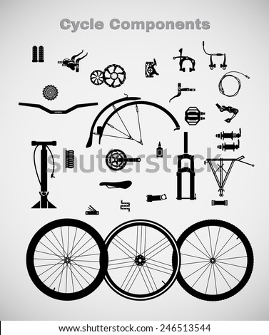 Cycle components. A variety of cycling accessories. - stock vector