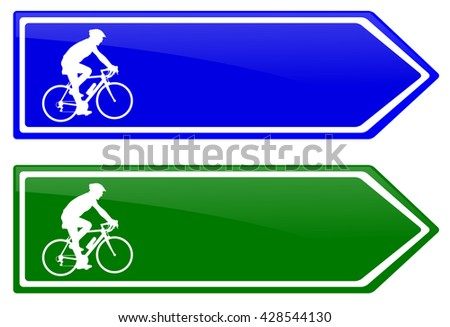 cycle line direction signboard - stock vector