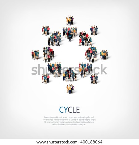cycle  people crowd - stock vector