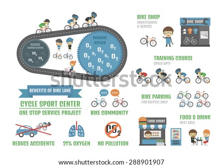 cycle sport center, one stop service  project infographic, isolated on white background