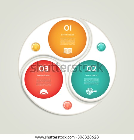Cyclic diagram with three steps and icons. eps 10 - stock vector