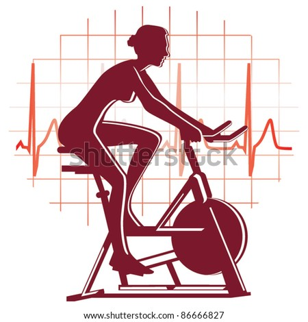 Cycling exercise icon vector - stock vector