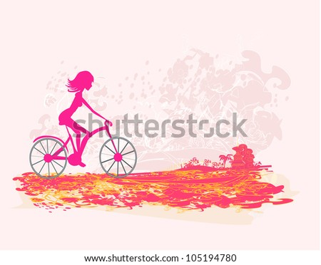 Cycling Grunge Poster with silhouette Girl - stock vector