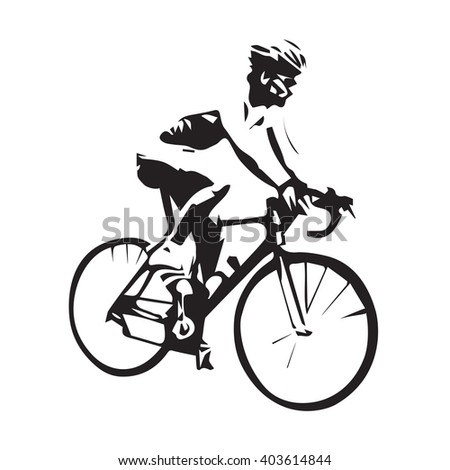 Cycling, isolated vector cyclist illustration - stock vector