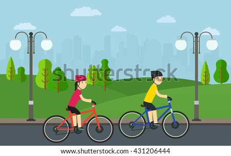 Cycling, man with woman on bikes ride in city park. - stock vector