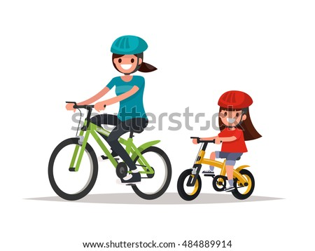 Cycling. Mother and daughter are riding bikes. Vector illustration of a flat design