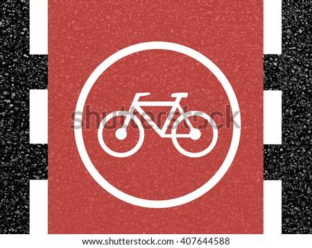 Cycling path road markings vector  - stock vector