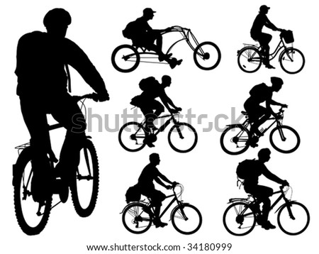 Cycling people. Collection of shapes. Vector illustration.