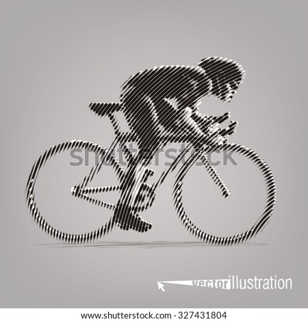 Cycling race. Vector artwork in the style of ink drawing - stock vector