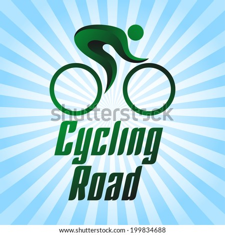 Cycling road, sportsmen on blue striped background, summer sports icons, vector illustration - stock vector