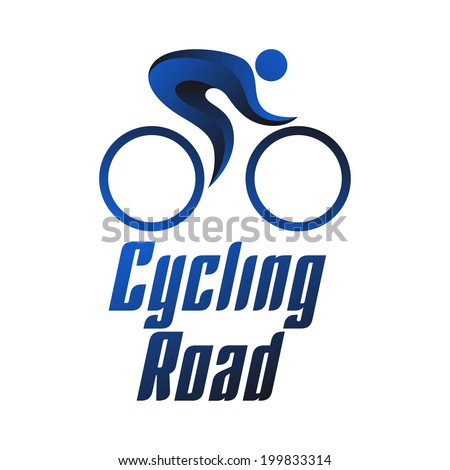 Cycling road, sportsmen on white background, summer sports icons, vector illustration - stock vector