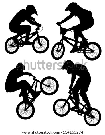 Cycling Silhouette on white background - stock vector