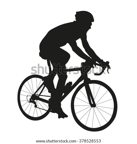 Cycling silhouette, vector isolated silhouette of road cyclist