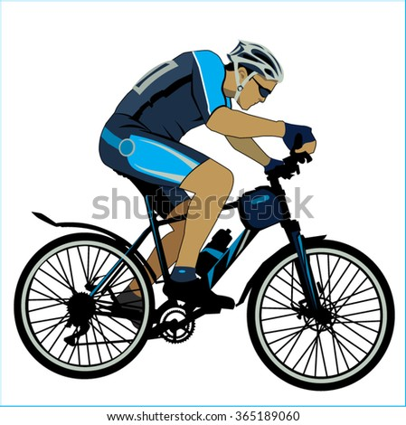 Cycling sport bicycle man - stock vector