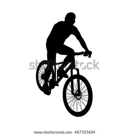 Cycling vector silhouette