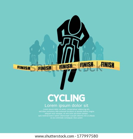 Cyclist At Finish Line - stock vector