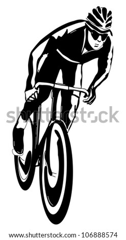 Cyclist, black and white vector illustration, easy to edit layers - stock vector