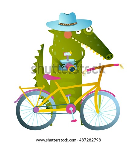 Cyclist crocodile tourist with blue hat, suitcase and camera. Funny wildlife drawing. Cartoon characters for children. Vector hand drawn illustration in vivid colors