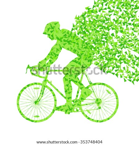 Cyclist cycling sport fast green vector abstract background concept made of fragments isolated over white - stock vector