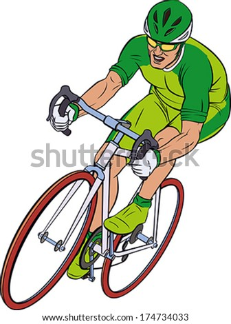 Cyclist in action. Bicycle race. Editable vector illustration.