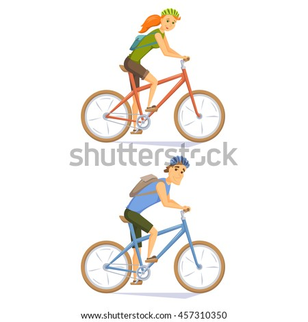 Cyclist on mountain bike set. People riding bicycle. Cyclists man and woman. Couple cycling journey. Cyclist cartoon character vector illustration. Cycle weekend getaway trip. Holiday outdoor leisure - stock vector