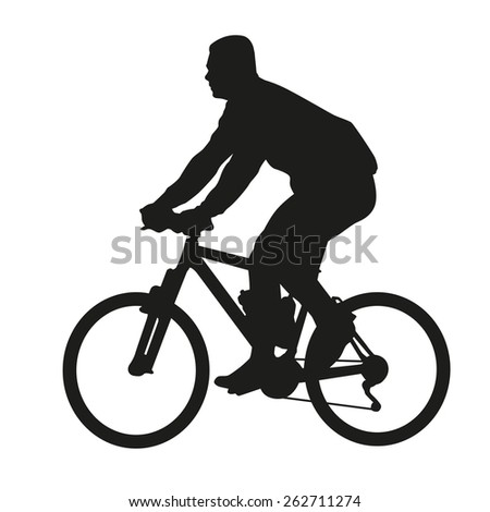 Cyclist on mountain bike. Vector silhouette
