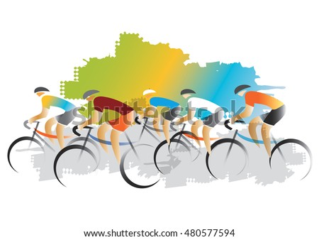 Cyclist racers. Colorful illustration imitated watercolors painting. Vector available.