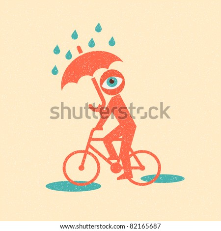 Cyclist. Retro poster - stock vector