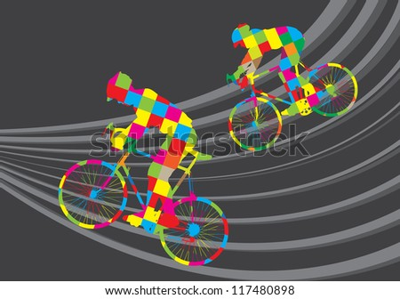Cyclist riding a bicycle vector background - stock vector
