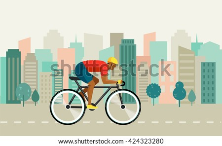 cyclist riding on bicycle on city , vector illustration and poster - stock vector