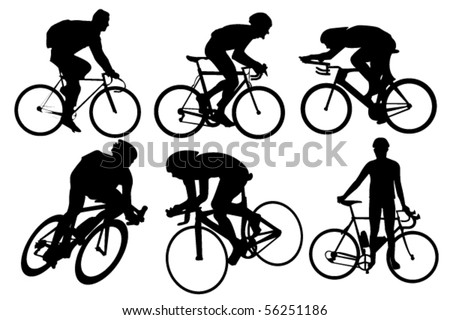Cyclist silhouettes set - stock vector