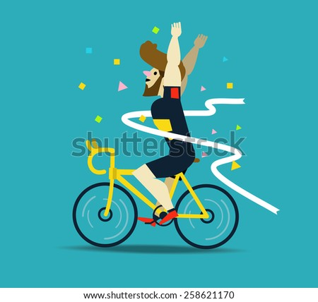 Cyclist winning the race.  flat character design. vector illustration - stock vector