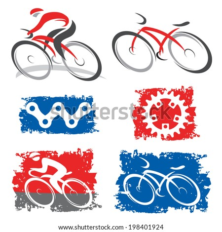 Cyclists and cycling elements icons. Colorful icons of cycling and cycling elements.Vector illustration.  - stock vector